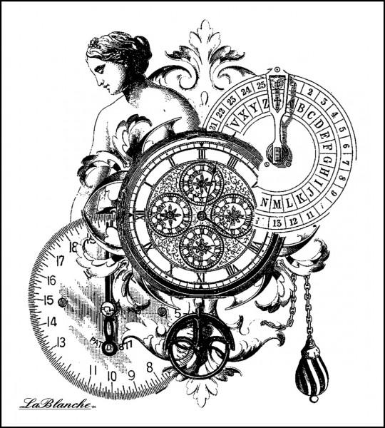 """Stempel """"Dame mit Uhren"""""""