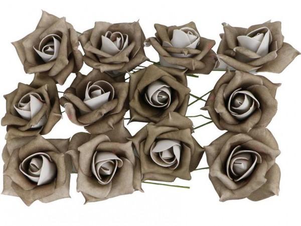 """Schaumstoffblüten """"Rosen de Luxe"""" - Taupe (12 Stück)"""