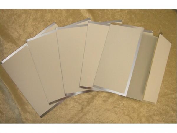 """Karten mit Silberrand u. Fensterfalzung """"Weiß"""" (10 St.)"""