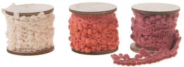 Stoffbänder Farbmix - Rot/Creme