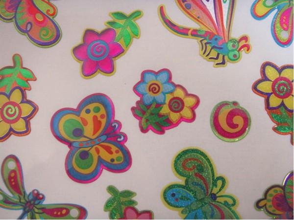 """Epoxy Hologramm Sticker """"Schmetterlinge und Blumen"""" 02"""