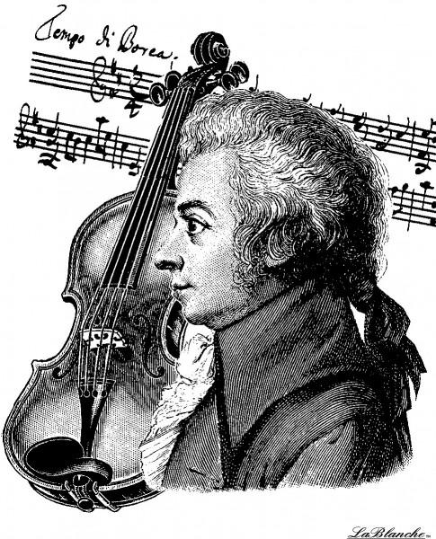 """Stempel """"Mozart mit Violine"""""""