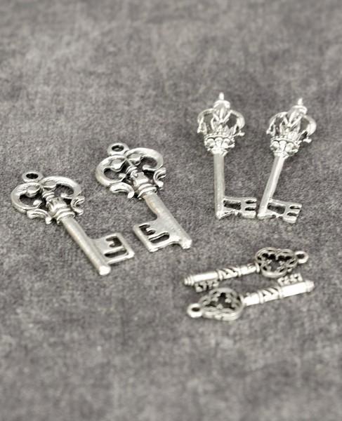 Metallschlüssel - Silber (6 St.)