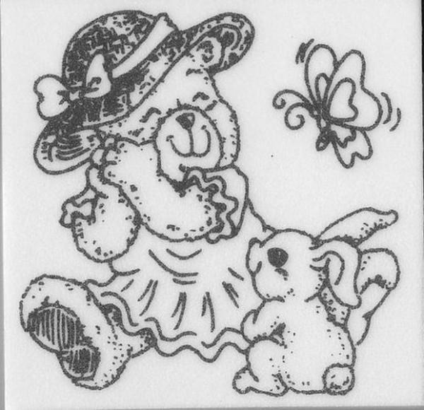 """Stempel """"Teddy mit Hase"""""""