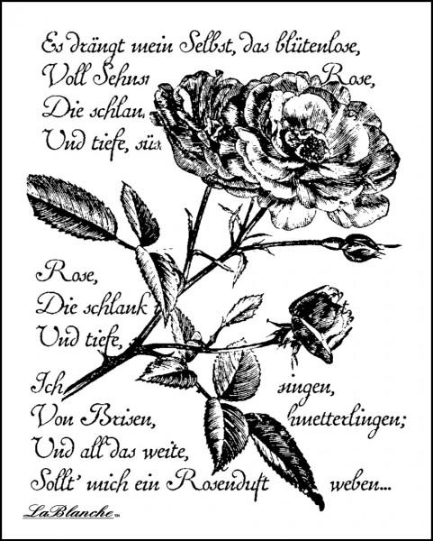 """Stempel """"Rose mit Schrift"""""""