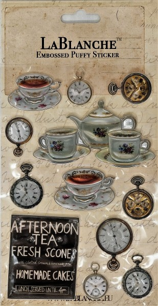 "Embossed Puffy Sticker ""Tea Time"""
