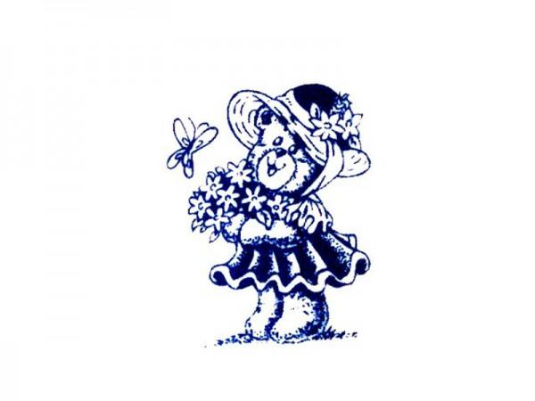 """Stempel """"Teddy mit Blumen"""" 1"""
