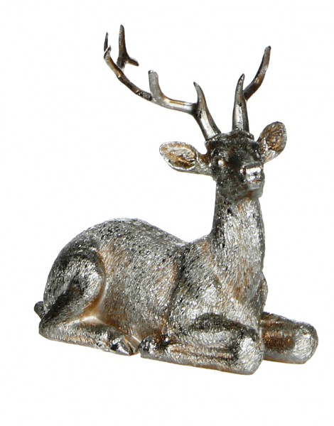 Hirsch liegend, aus Poly-Resin, 10,5 cm