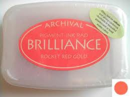 Archival Ink Brilliance Rocket Red Gold