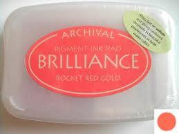 Archival Ink Brilliance Rocket Red Gold