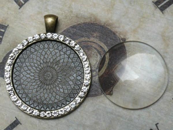 Glascabochon rund, bronze, Rahmen m. Strass innen