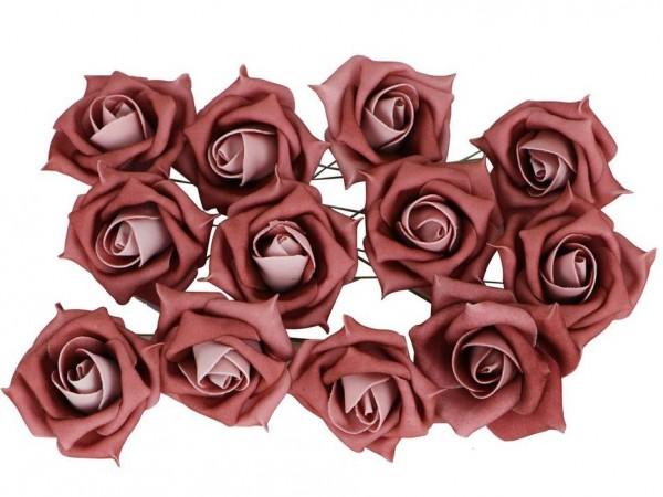 """Schaumstoffblüten """"Rosen de Luxe"""" - Rosa (12 Stück)"""