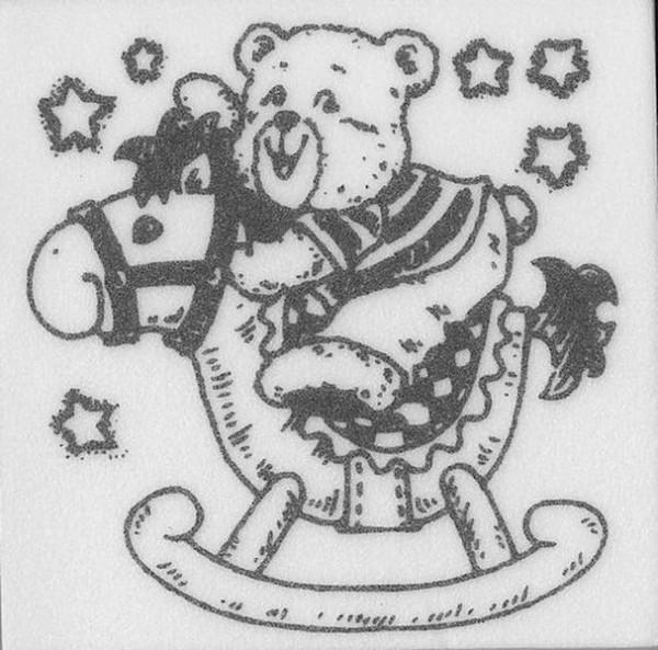 """Stempel """"Teddy auf Schaukelpferd"""""""