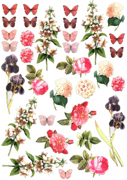 """Natural Papier - Gelaserte Elemente """"Vintage Rose"""""""