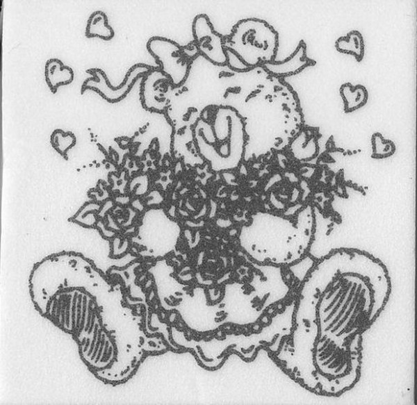 """Stempel """"Teddy mit Blumen"""" 2"""