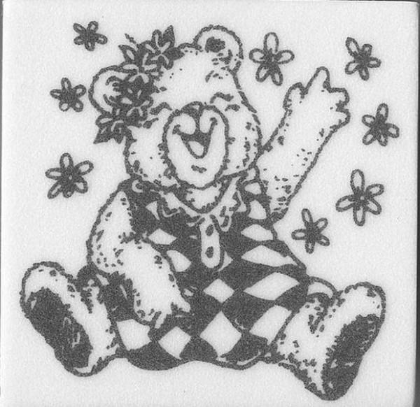 """Stempel """"Teddy mit Blumen"""" 3"""